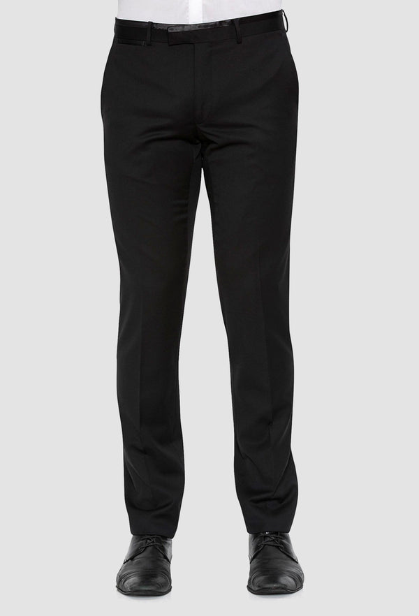 a front view of the Joe Black slim fit fortune evening trouser in black pure wool F6447 including the satin waistband detail