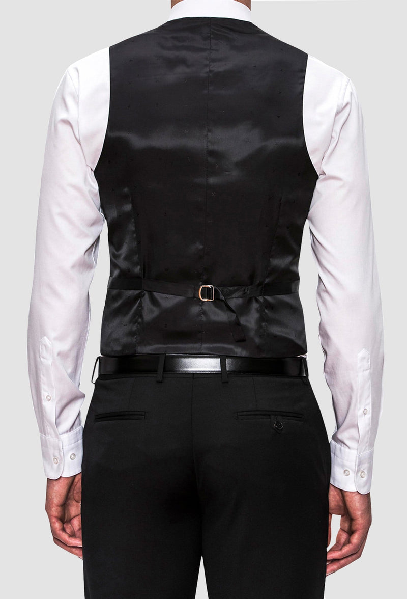 a back view of the Joe Black slim fit mail vest in black pure wool  including the tab adjuster details