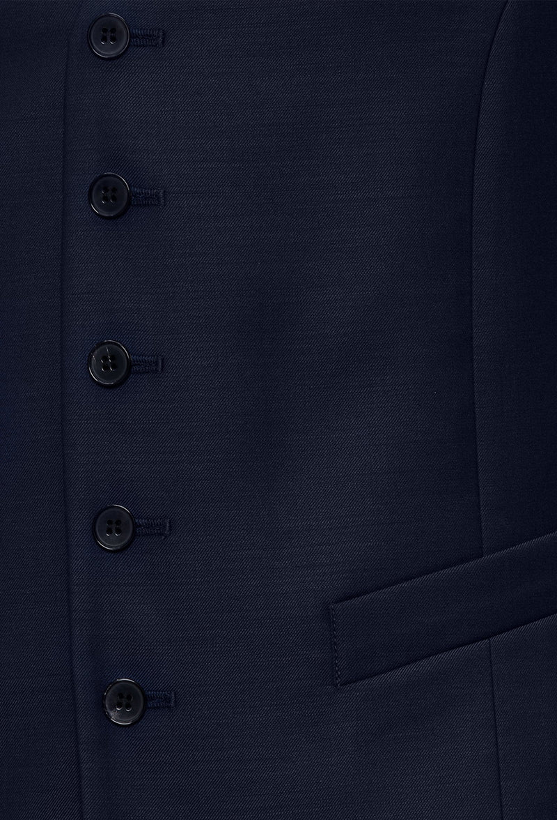 a close up view of the five button detail on the Joe Black slim fit mail vest in navy pure wool FJV032