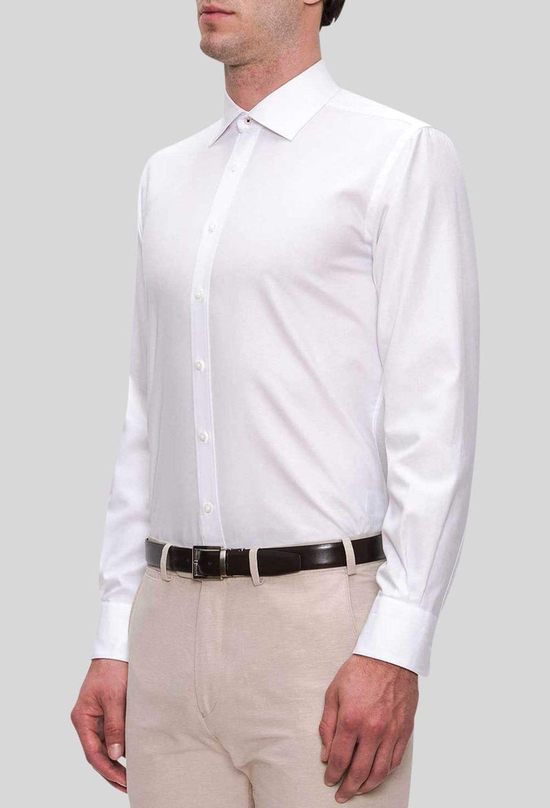 A side on view of the Joe Black slim fit pioneer shirt in white pure cotton FJD044