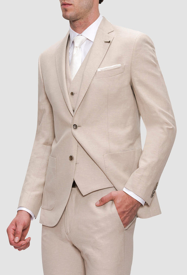a close up view of the Joe Black slim fit quest suit in sand linen blend styled with a white shirt and tie