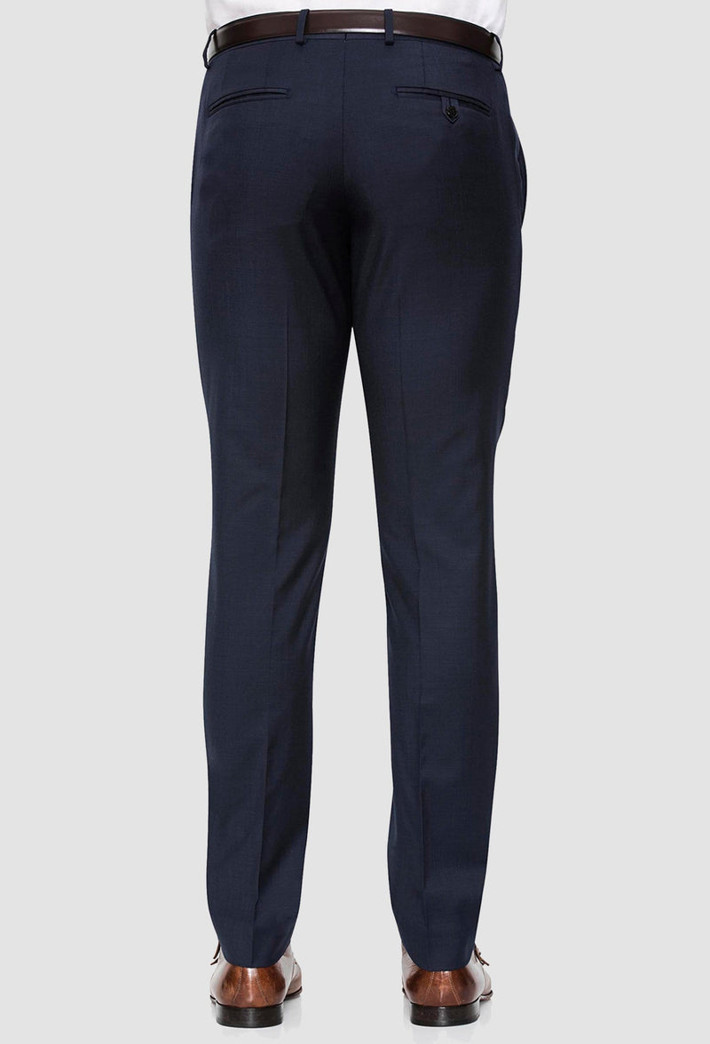 a rear view of the Joe Black slim fit razor trouser in navy pure wool
