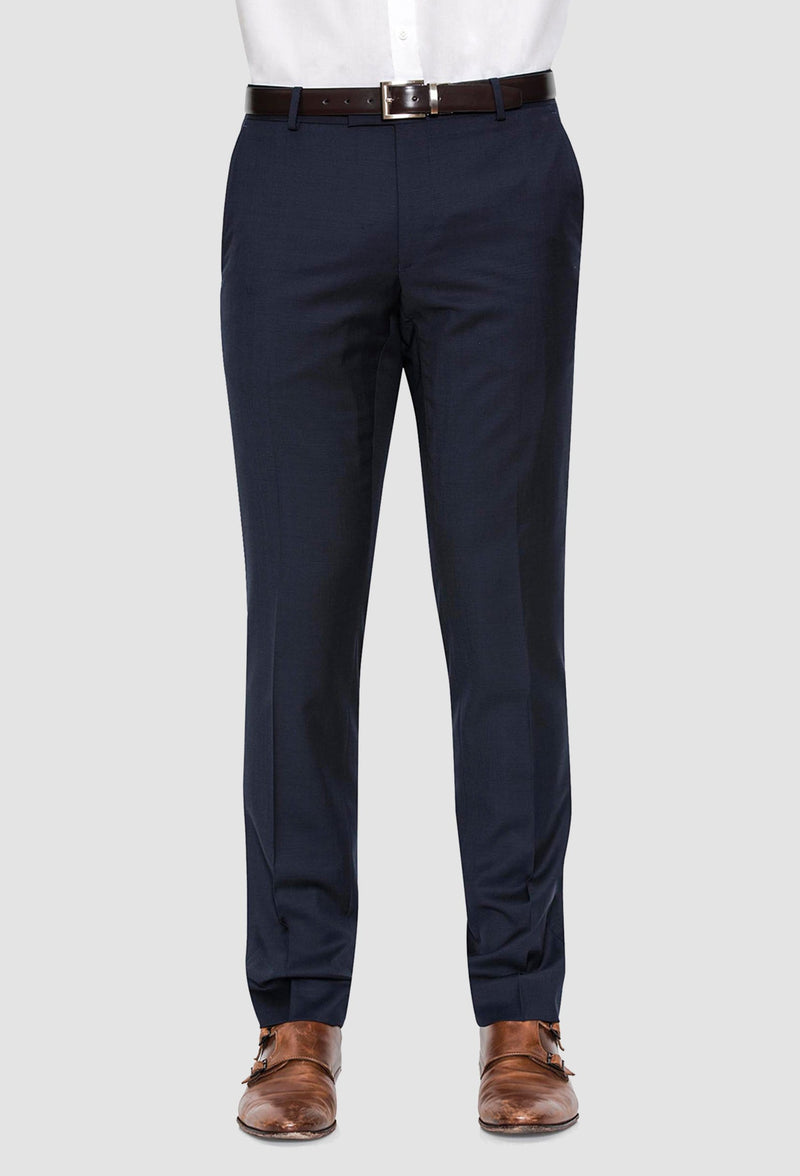 A front on view of the Joe Black slim fit anchor suit trouser in navy pure wool FJV033