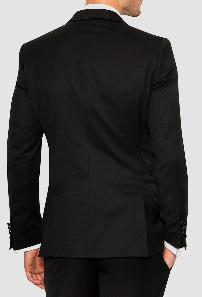 a view of the back side vents on the Joe Black slim fit riviera evening suit jacket in black pure wool F6447