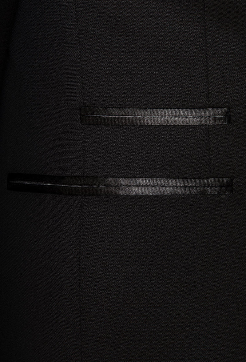 the satin detailing on the Joe Black slim fit riviera evening suit jacket in black pure wool F6447