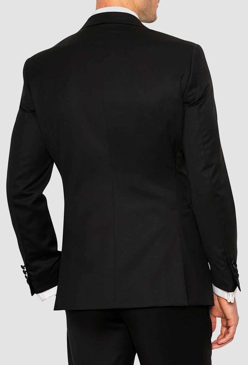 A back view of the Joe Black slim fit sloane evening suit jacket in black pure wool F6447