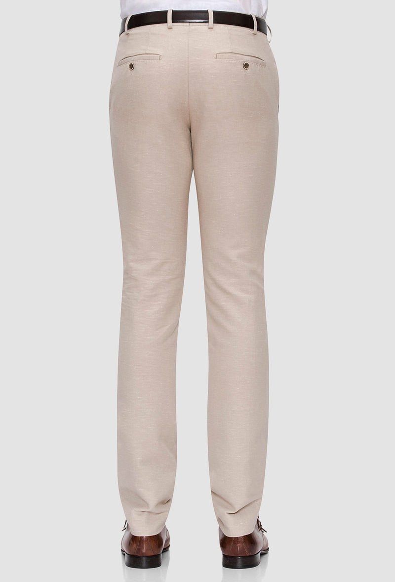 A rear view of the Joe Black slim fit tourist sports trouser in sand linen blend