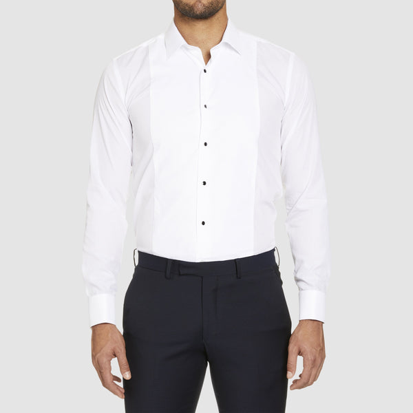 a front view of the Studio Italia slim fit marcel dinner shirt with regular collar in white showing the contrast buttons and bib collar