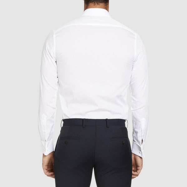 a back view of the Studio Italia slim fit marcel dinner shirt with regular collar in white ST03