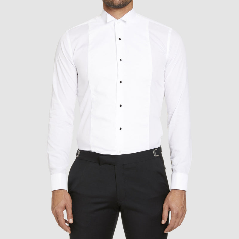 studio italia slim fit bib front wing collar double cuff evening shirt in white ST03