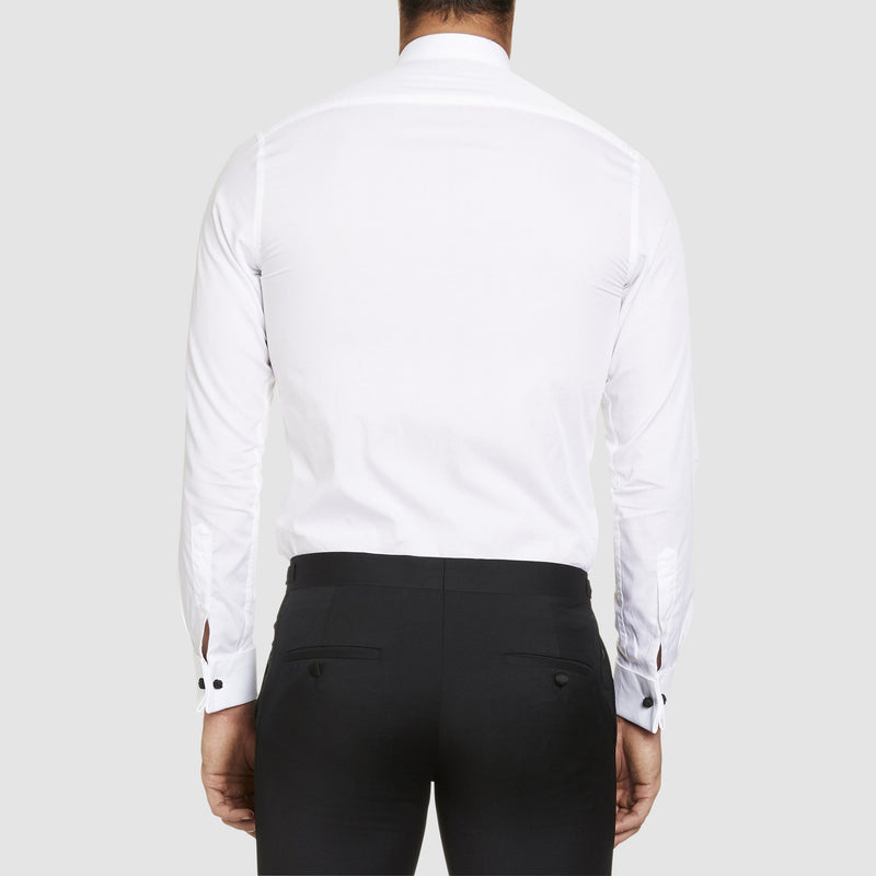 back view of the studio italia slim fit bib front wing collar double cuff evening shirt in white ST03