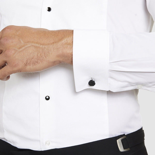 studio italia slim fit dinner shirt in white ST03 showing the double cuff and contrast button detail