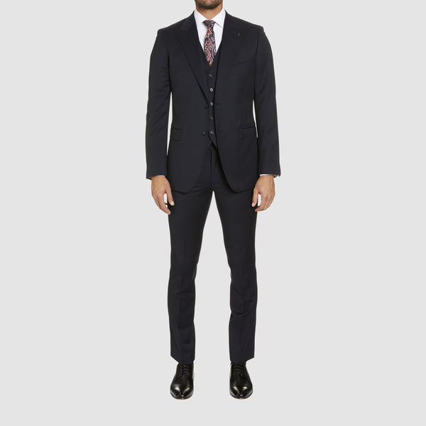 A full length view of a front view of the studio italia slim fit lugano suit in navy pure wool ST-362-11