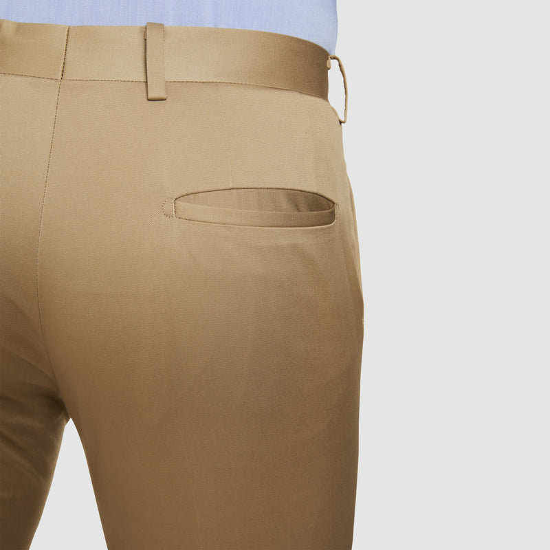 a close up of the back pocket on the the slim fit studio italia havana chino in tobacco beige ST-374-81