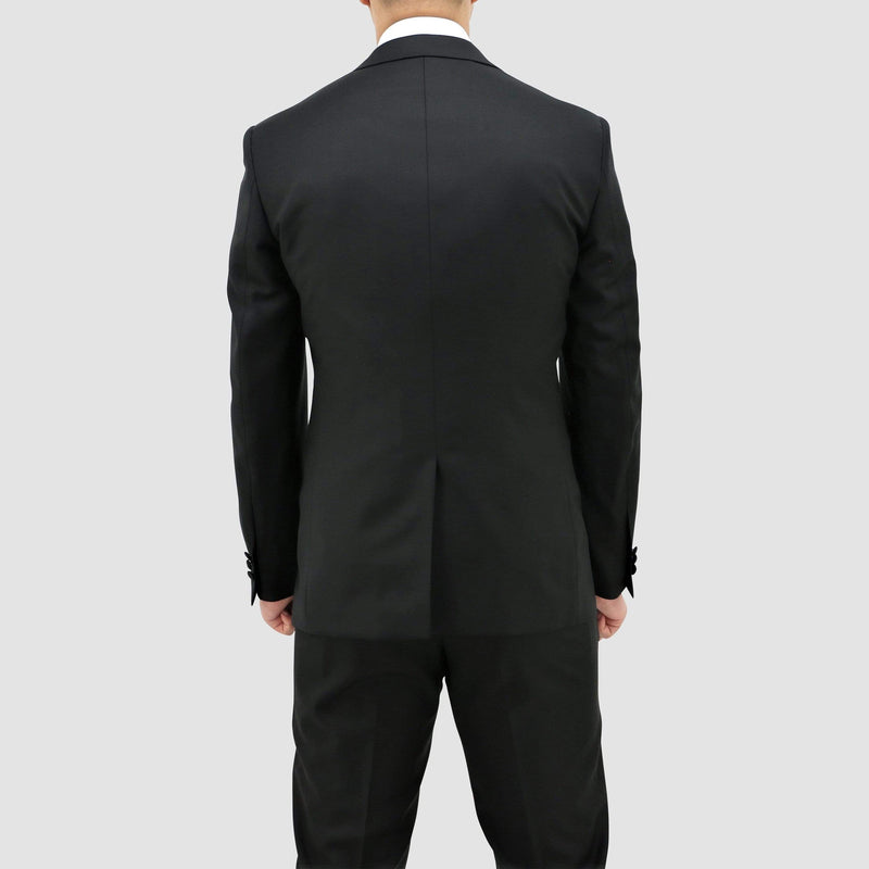 the rear vents on the Daniel Hechter slim fit jason tuxedo suit in black pure wool STDH106-01