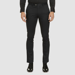 a front view of the Studio Italia slim fit chino in black cotton stretch ST-459-31