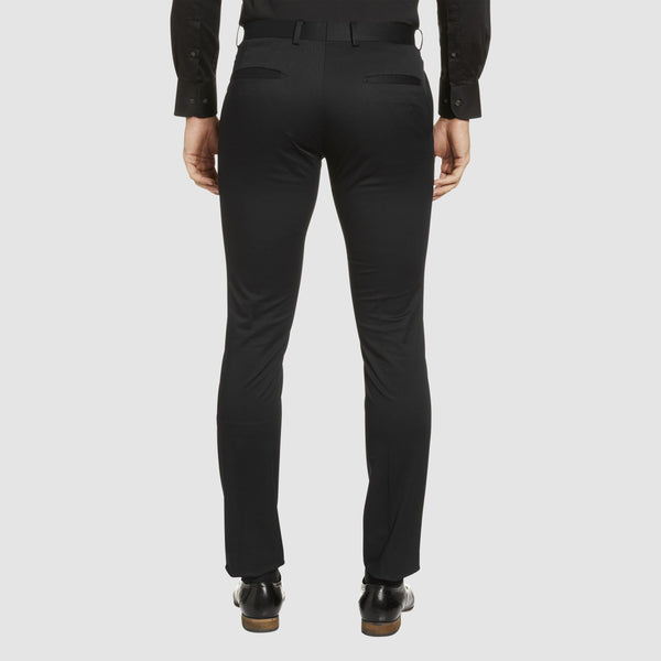 a back view of the Studio Italia slim fit chino in black cotton stretch ST-459-31