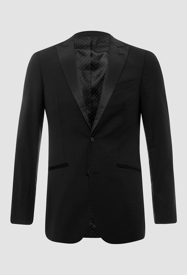 Uberstone slim fit fernando suit jacket in black pure wool 6002 on a grey background