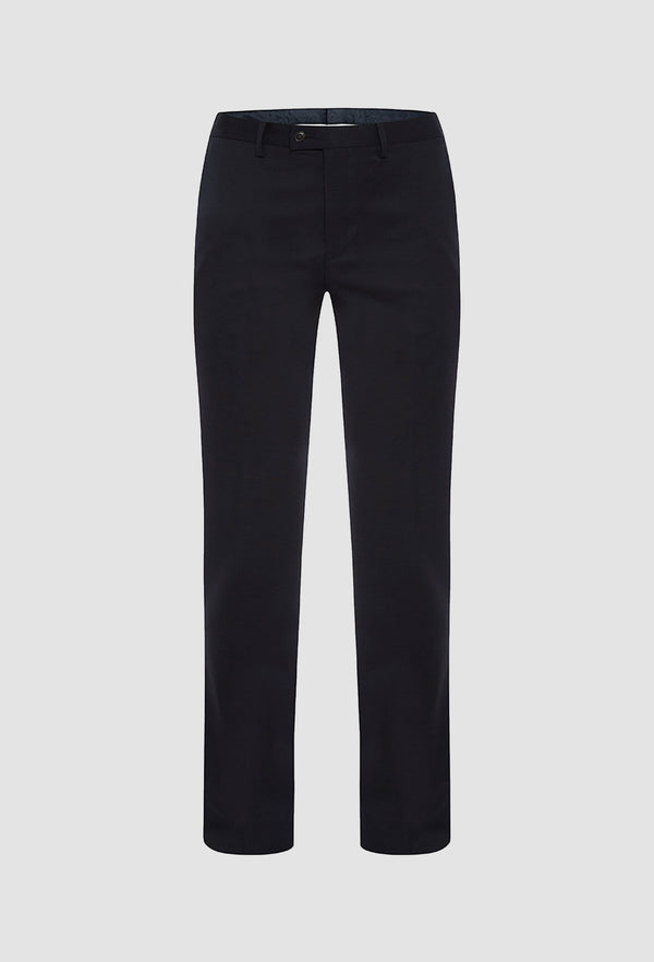 a frontal view of the uberstone slim fit Joe trouser in ink pure wool with a flat front, belt loops, and slant front pockets