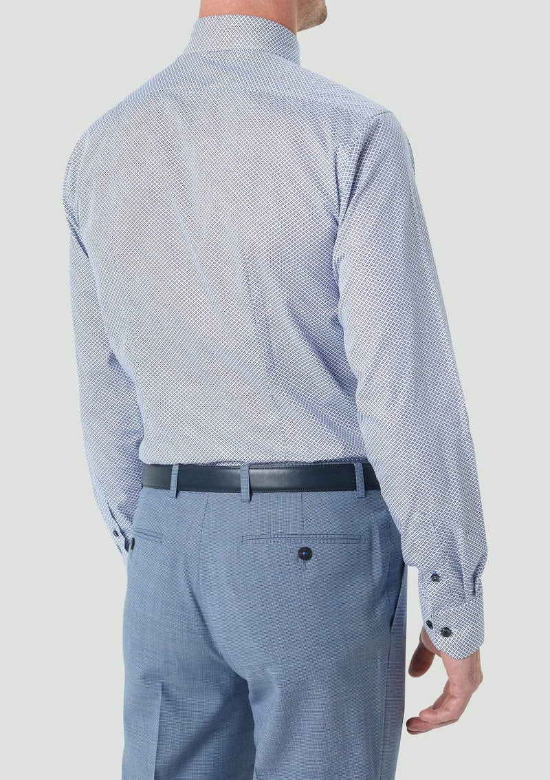 a back view of the wolf kanat slim fit mens business shirt in blue geo print