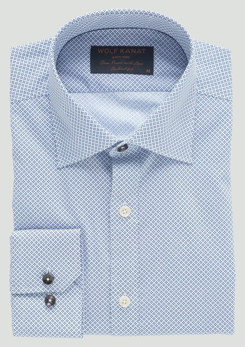 a close up view of the wolf kanat slim fit romanov mens business shirt with single cuff detail and modern collar