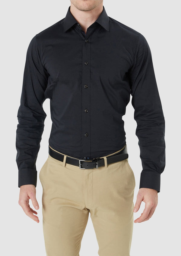 the front view of the wolf kanat slim fit herve mens business shirt in black cotton stretch 9WKS940