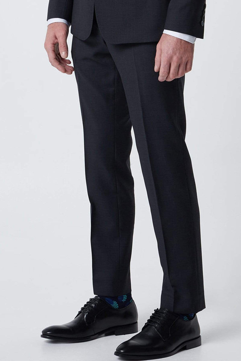 wolf kanat mens suit trouser in navy pure wool