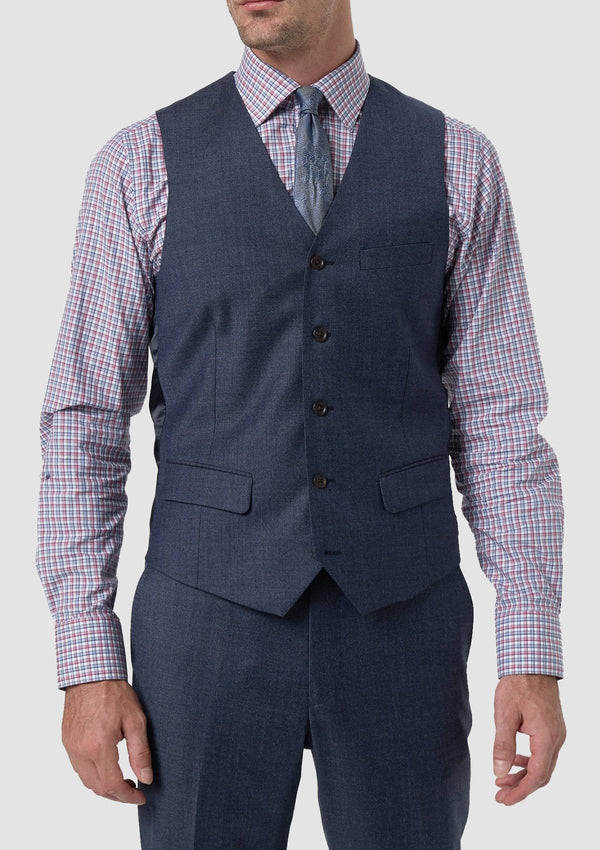 A front view of the Wolf Kanat slim fit hearts suit vest in blue melange 8wk9015