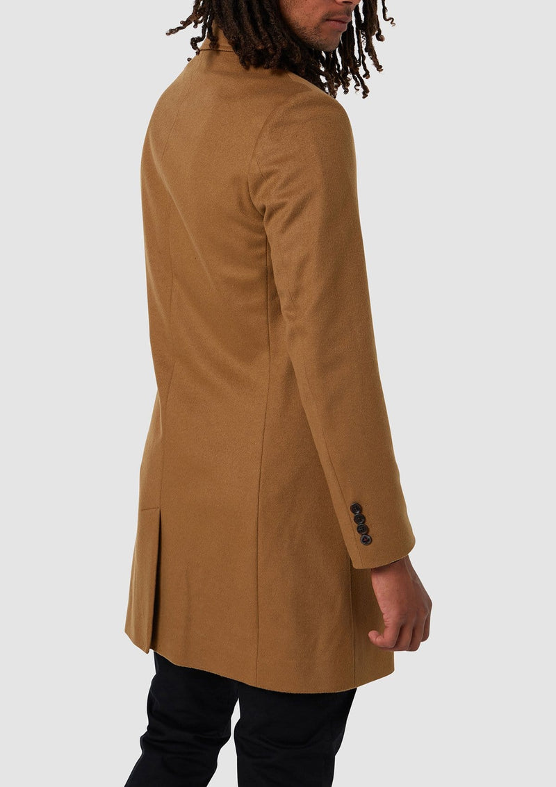 Wolf Kanat slim fit mens piled overcoat in camel wool blend 4WK7257