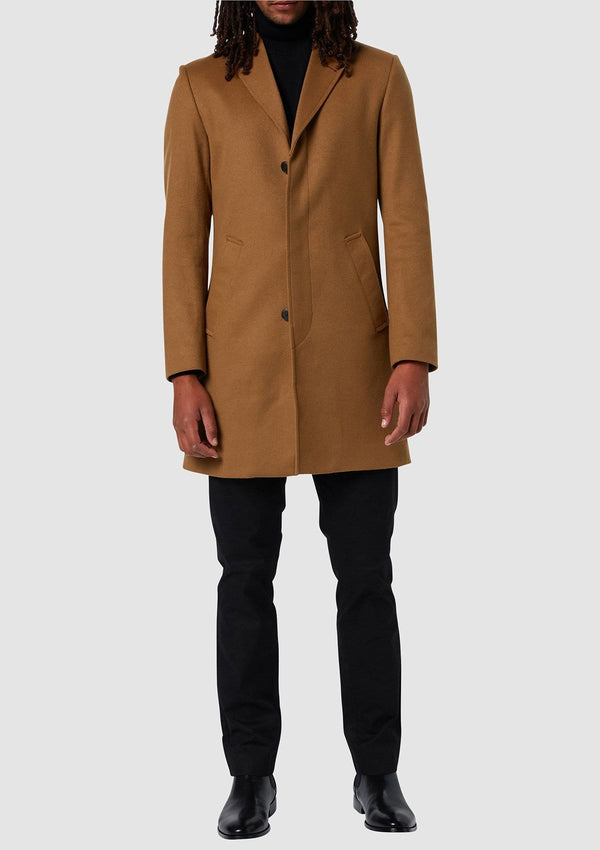 a full length view of the Wolf Kanat slim fit mens piled overcoat in camel wool blend 4WK7257