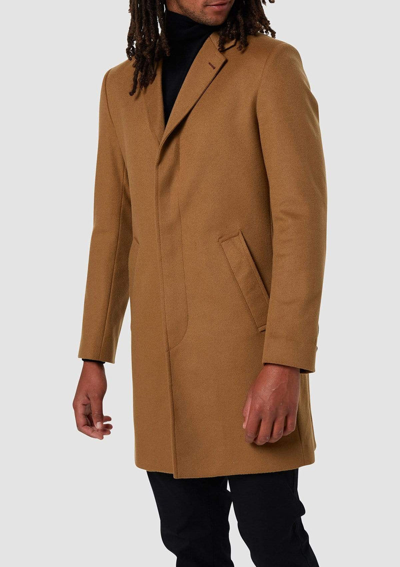 Wolf Kanat slim fit snow overcoat in camel melton wool