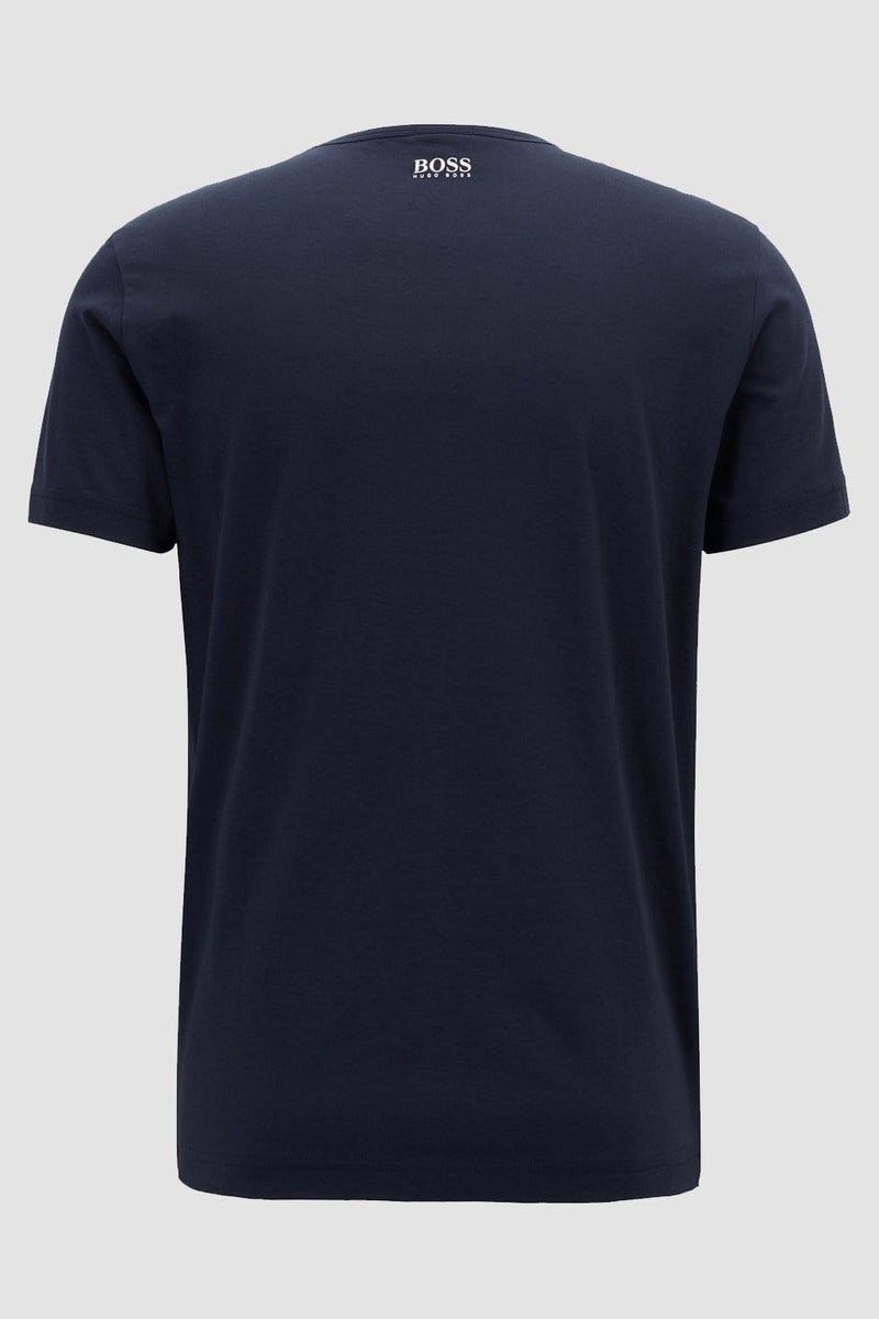 the back of the hugo boss classic fit mens tshirt with a small white hugo boss logo on the neckline