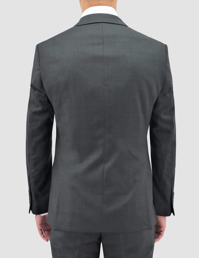 a back view of he boston classic fit michel suit jacket in grey pure wool B704-03