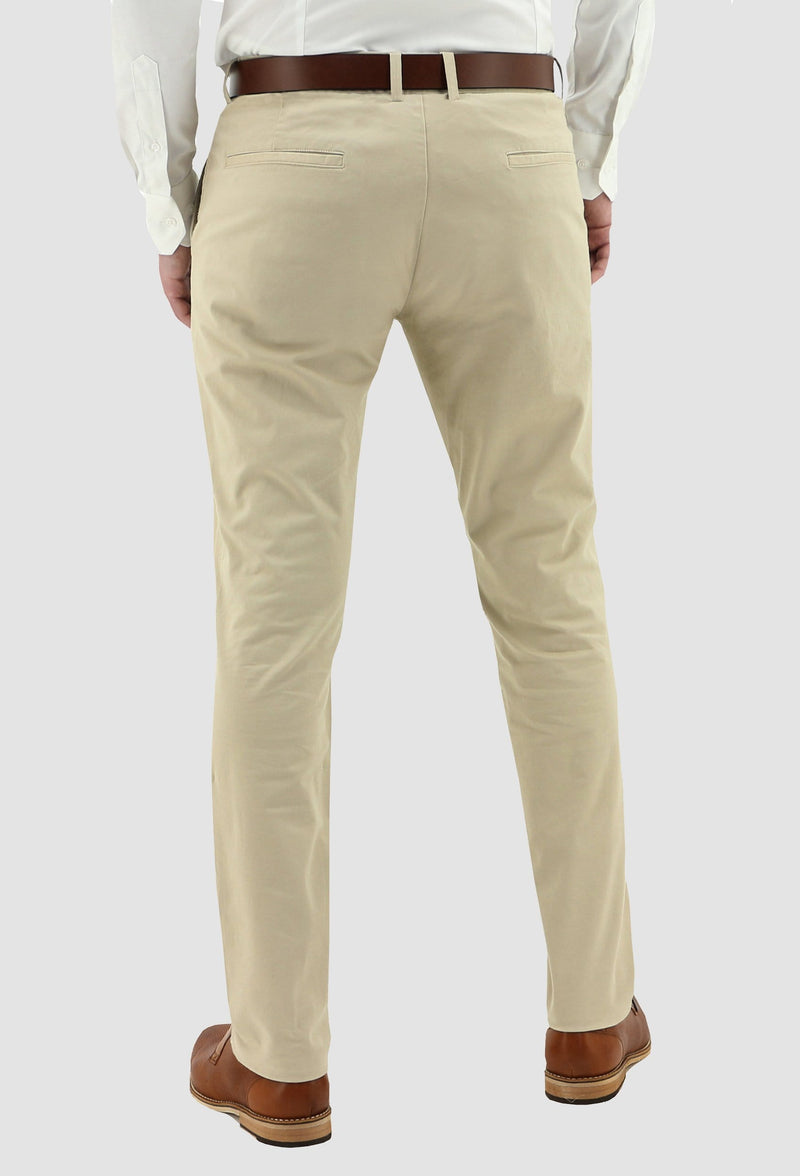 the back view of the the daniel hechter slim fit chino in sand DH490-27 showing the pocket details