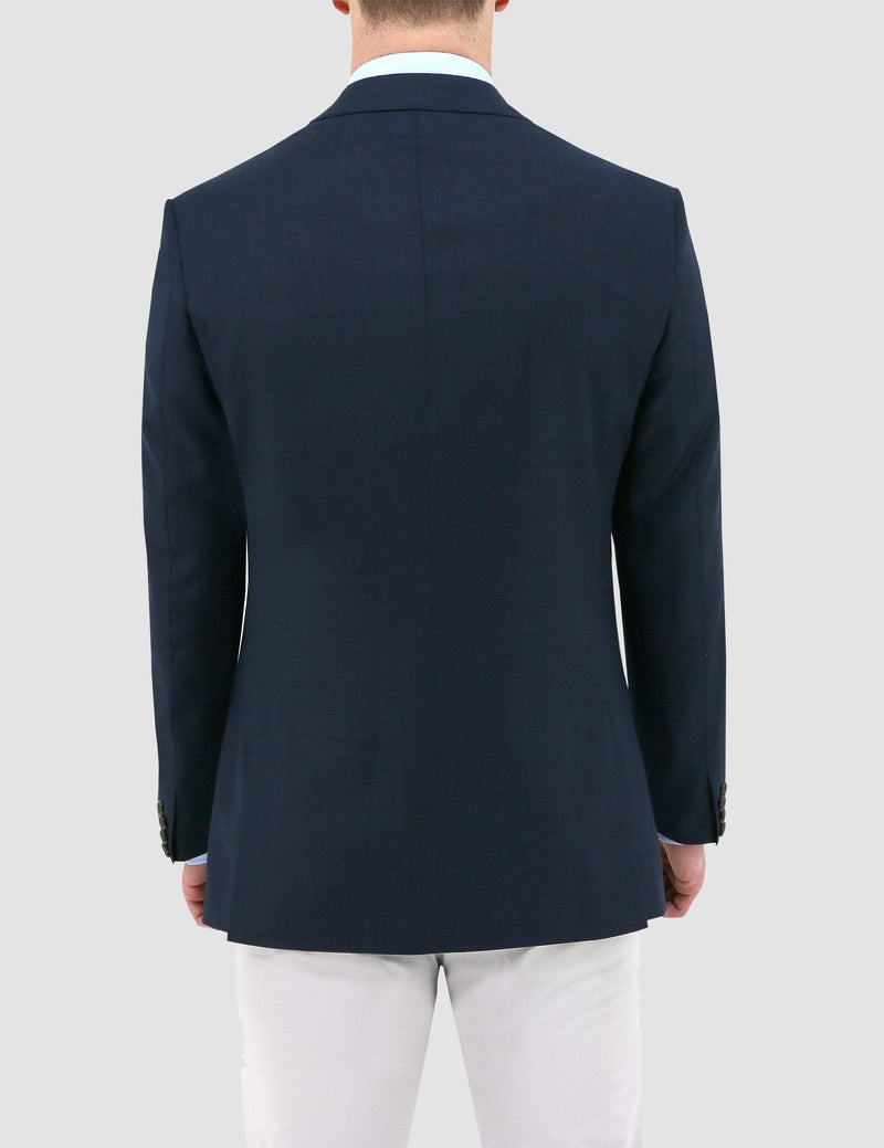a back view of the daniel hechter slim fit pure wool sports coat jacket in navy DH103-11