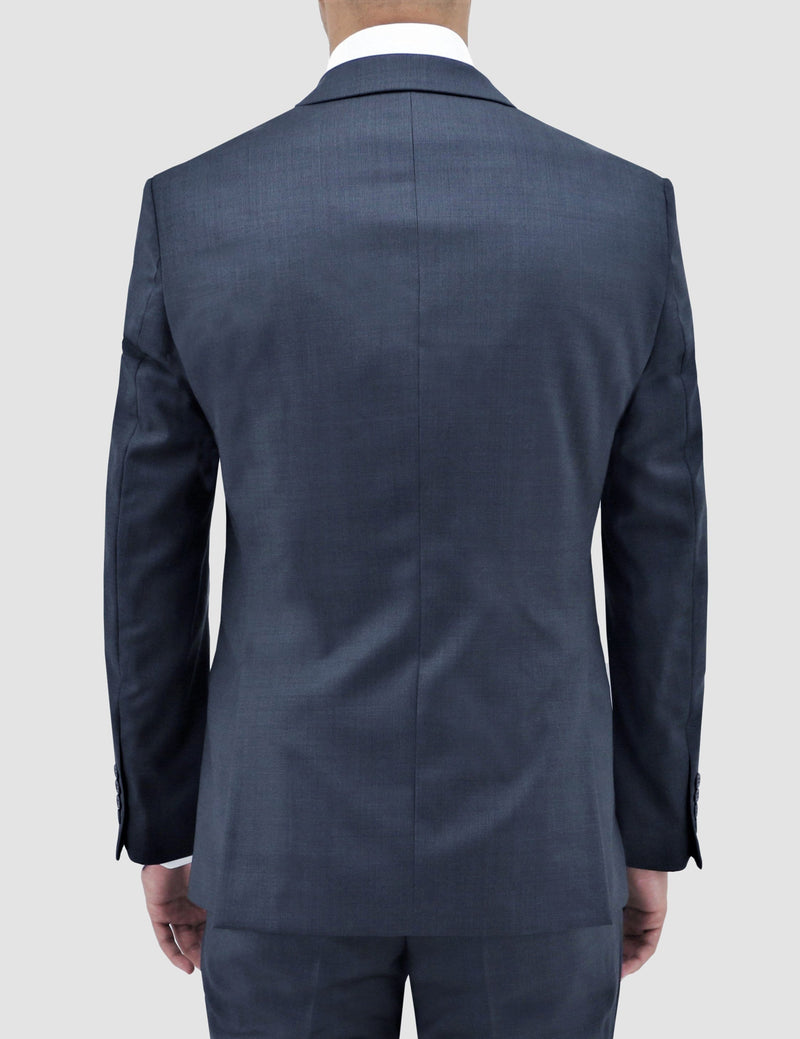 a back view of the michel suit jacket by boston suiting in blue pure wool B704-14