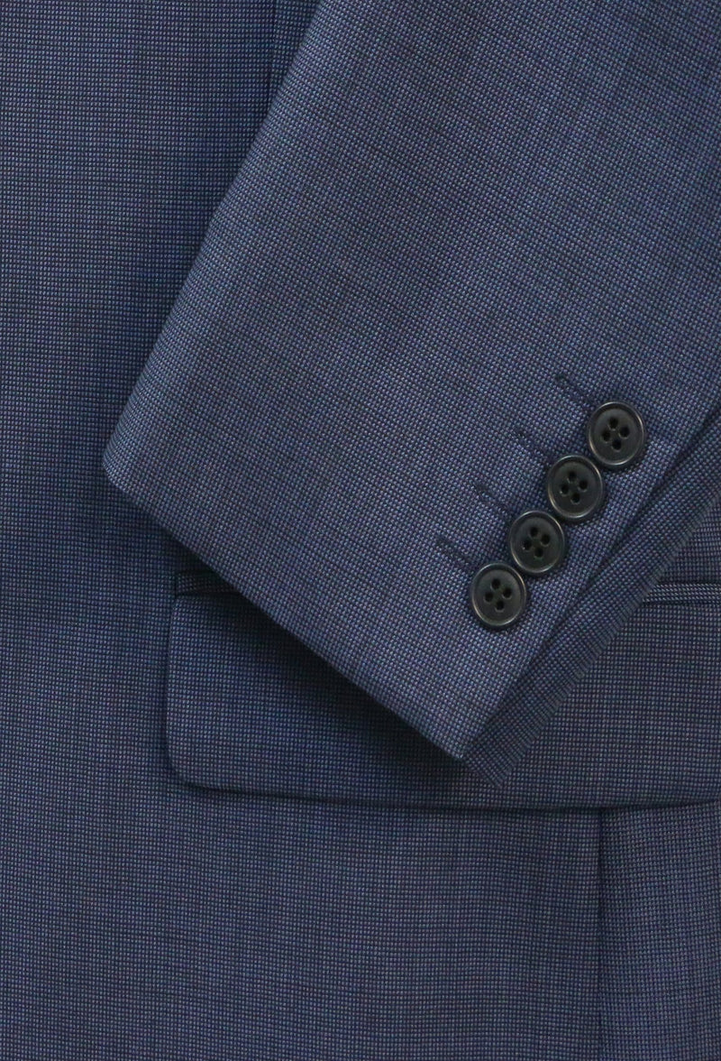 a close up of the fabric on the Boston classic fit michel suit in blue pure wool B704-14