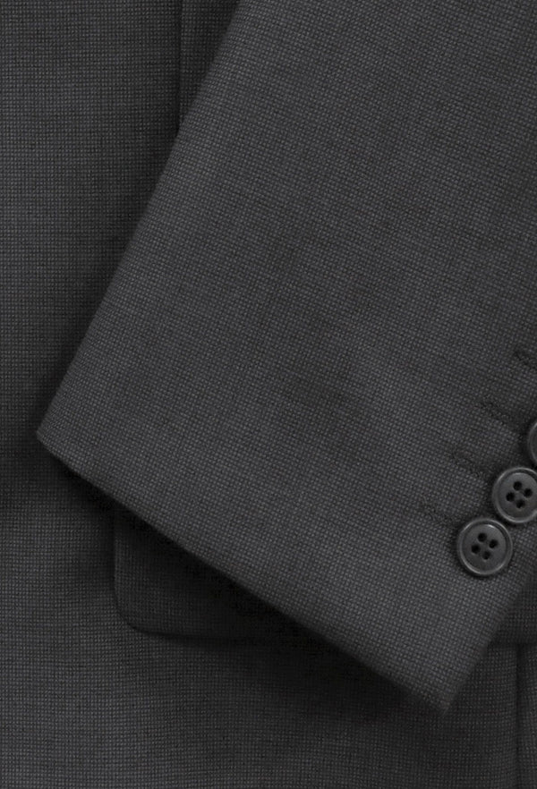 a close up of the fabric on the Boston classic fit michel suit in grey pure wool B704-03