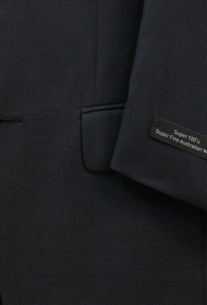 a close up of the fabric on the Boston classic fit michel suit in navy pure wool B704-03