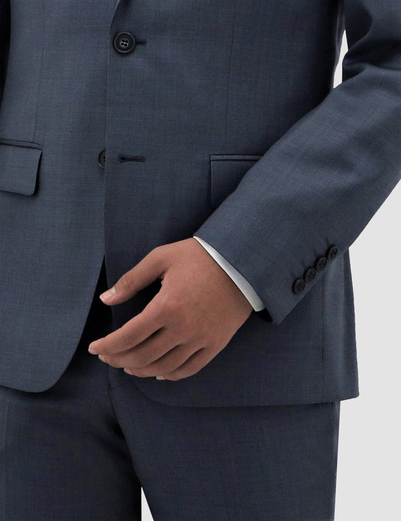 a close up of the sleeve and lapel details on the boston classic fit michel suit jacket in blue pure wool B704-14