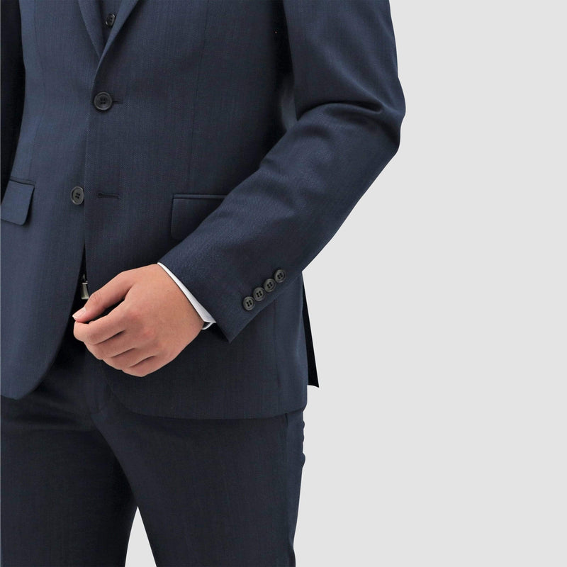a close sleeve view on the Daniel Hechter classic fit michel suit in blue pure wool STDH101-12