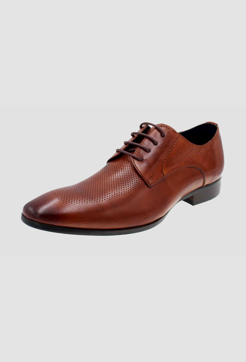 a side view of the Martino Carolus buffalo lace up leather shoe in dark tan FM192M