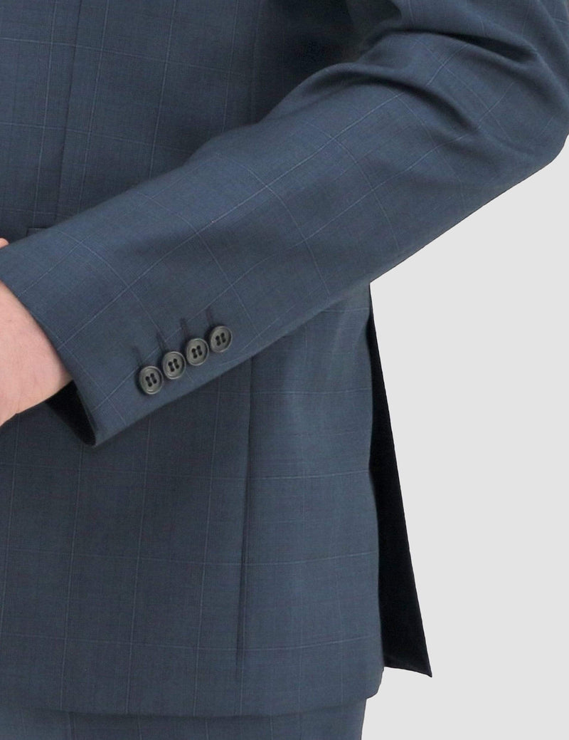 a close up of the fabric texture and sleeve button detail on the Daniel Hechter slim fit share suit jacket DH210