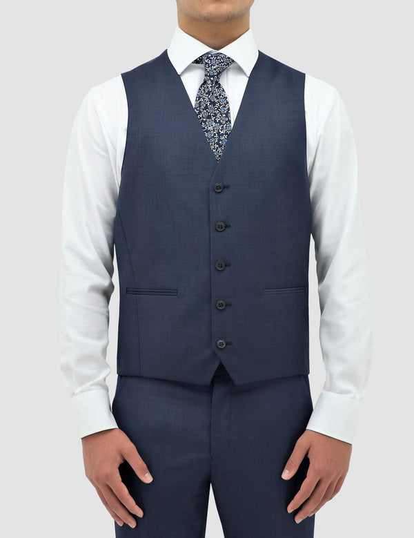 a front on view of the boston classic fit ryan vest in blue pure wool B704-14