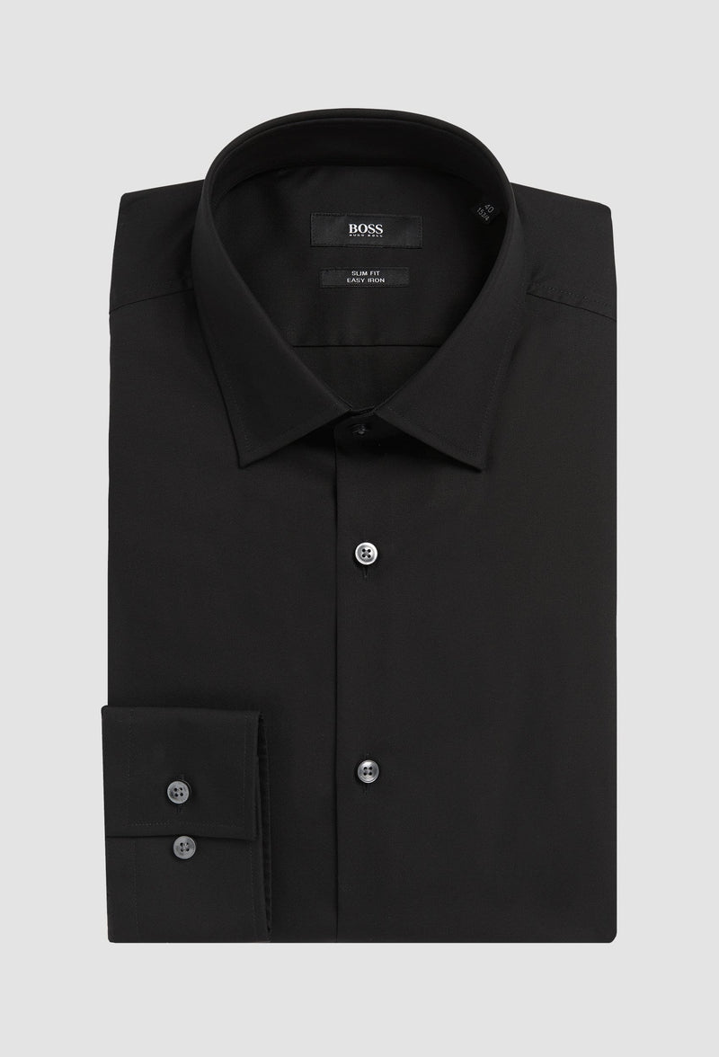 the Hugo Boss slim fit jenno business shirt in blue cotton poplin folded onto a grey background