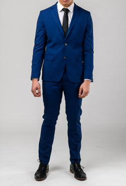 A front on view of the Aston slim fit leon suit in blue A042718S