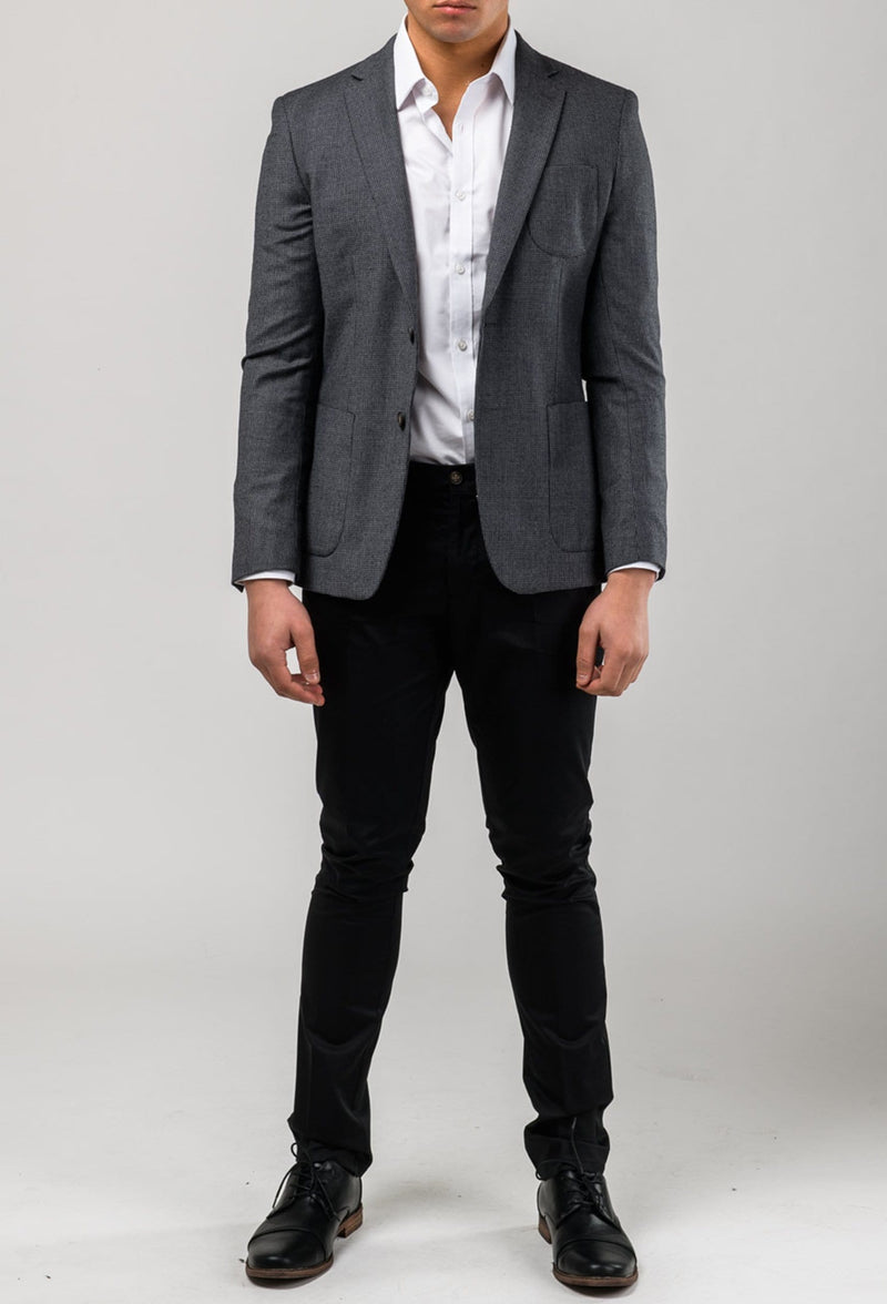 a model front on wears Aston slim fit franklin sports jacket in charcoal pure wool A0238157SP