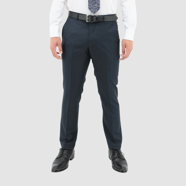 a front view of the Boston classic fit lyon trouser in blue pure wool