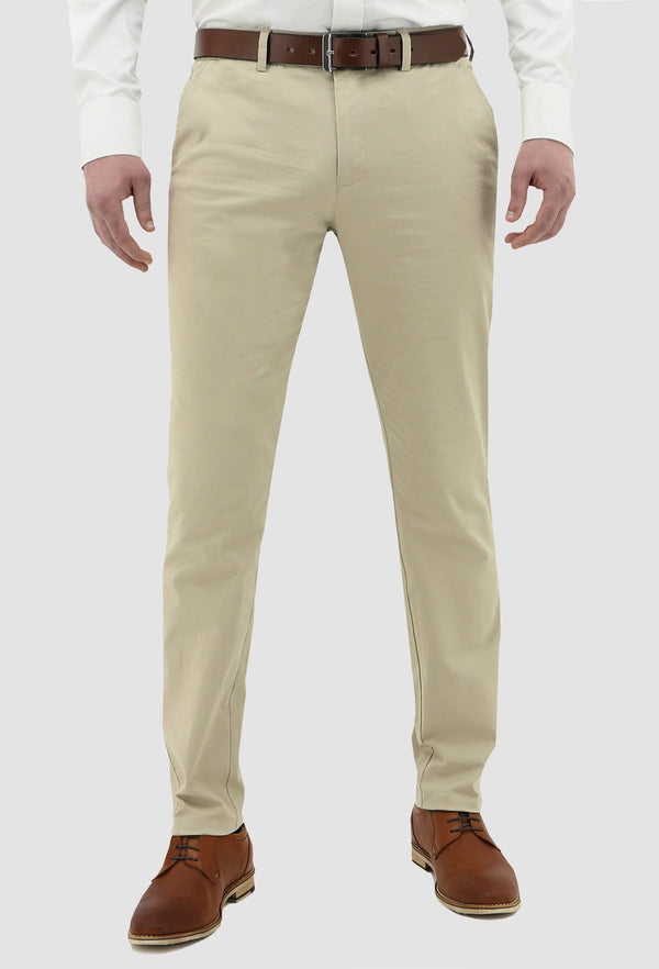 a model faces the front wearing the daniel hechter slim fit chino in sand DH490-27