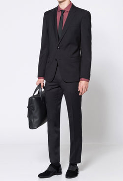 a full length view of the Hugo slim fit henry dinner suit in black pure wool HB50379442-001